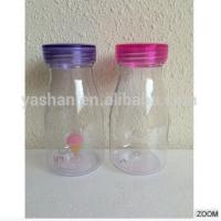 Buy cheap Transparent Water Bottle Candy Color Transparent Soda Bottle with Straw and Double Caps from wholesalers
