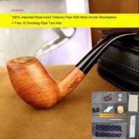 Buy cheap Imported Rosewood Tobacco Pipe Handmade Bent Smoking Pipe with Cleaners Pipe Rack ad0030 from wholesalers