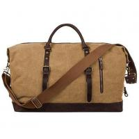 Buy cheap Canvas Genuine Leather Trim Travel Tote Duffel Shoulder Weekend Bag from wholesalers