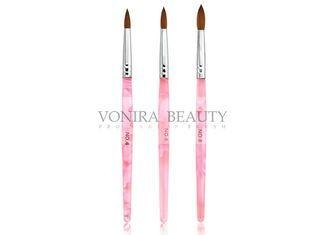 Buy cheap Pink Acrylic UV Gel Round Nail Art Brushes With Nature Kolinsky Hair from wholesalers