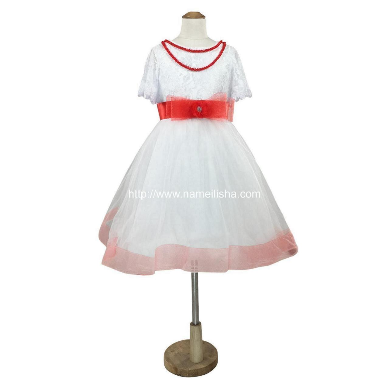 Buy cheap White A-Line Jewel Knee Length Pearls Bownet Sash Flowers Girls Dresses 2017 TuTu Ball Gown from wholesalers