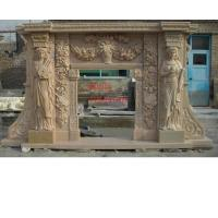 Buy cheap Outdoor Fireplace Mantle, Marble Fireplace With Human Carved from wholesalers