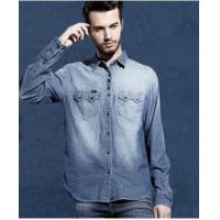 Buy cheap newest style embroiderd brushed mens denim jacket with chest pocket from wholesalers