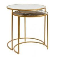 Buy cheap Shop fittings and Project Brass chrome Circular glass table with a SS metal from wholesalers
