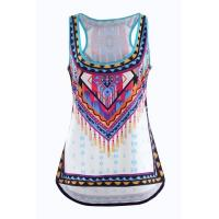 High Low Hem Ladies Print Tank Tops Plus Size Asymmetrical Racerback Casual Vest Blouses