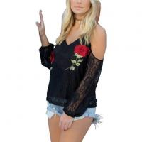 Buy cheap Antique Embroidery Openwork Lace Blouses Women Black Cold Shoulder Full Sleeve Floral Lace Tops from wholesalers