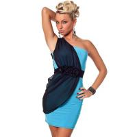 Buy cheap Light Blue One Shoulder Mini Dress with Black Layer on One Side and Front Rose Details from wholesalers