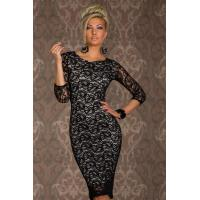 Buy cheap Black Paisley Lace Knee-Length Midi Dress With White Lining from wholesalers