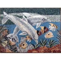 Buy cheap Blue Sea White Dolphins Mosaic Art Patterns Medallion Fish Border Marble Mosaic Tile from wholesalers