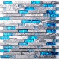 Buy cheap Sea Blue Grey Marble Glass Kitchen Backsplash Mosaic Tiles For Bathroom Bathtub from wholesalers