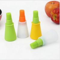 China Heat-resistant food grade silicone oil bottle with brush head for Barbecue oil jar on sale