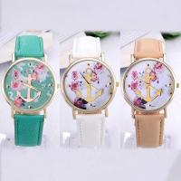 Buy cheap Flower Anchor Dial Leather Band Gold Geneva Cheap Womens Fashion Watches from wholesalers