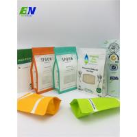 Buy cheap Foil Lined Printed Logo Stand Up Paper Pouch Block Flat Bottom Kraft Bag Zip Lock with Window from wholesalers