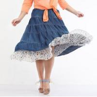 Buy cheap Plus size clothing $13 Bohemian denim stitching color dot big skirt from wholesalers