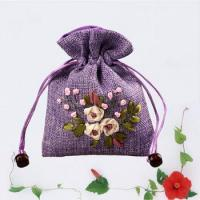 Buy cheap High quality flower embroidery fabric gift pouch with drawstring from wholesalers