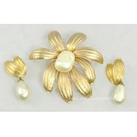 Buy cheap Massive Vintage Floral Brooch and Earring Set Signed JUDY LEE from wholesalers