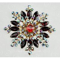 Buy cheap Unsi Sensational Red Snow Flake Brooch with Dazzling Aurora Borealis Rhinestones from wholesalers