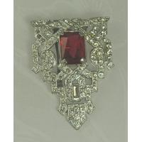 Unsi Impressive ART DECO Dress Clip with Faceted Red Glass Stone