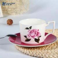 Buy cheap Cup and Saucer Unique design rose decal fine bone china cups with saucer product