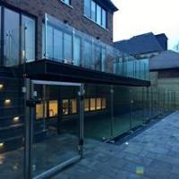 Buy cheap 316s.s exterior round post tempered glass panels for balcony glass balustrade from wholesalers