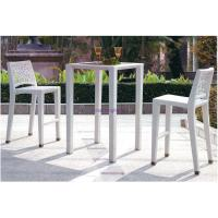Buy cheap white rattan wicker taller bistro pub table and 2 chairs set for outdoor garden WF-B005 from wholesalers