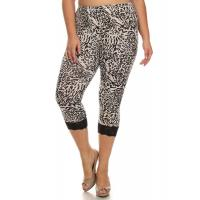 Buy cheap Lace Trim Capri Leggings - BLACK AND WHITE ANIMAL PRINT from wholesalers