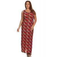 Buy cheap Sleeveless Corset-Back Maxi Dress - Red Peacock from wholesalers