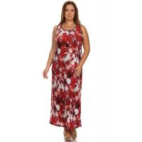 Buy cheap Sleeveless Corset-Back Maxi Dress - Burgundy Floral product