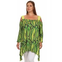 Buy cheap Off-Shoulder Strap Long Sleeve Sidetail Tunic - LIME YELLOW from wholesalers