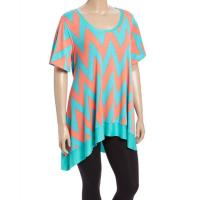 Buy cheap Desere Plus-Size Women's Scoop Neck Tunic - TEAL CORAL ZIGZAG from wholesalers