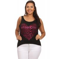 Buy cheap Graphic Heart Burnout Hi-Low Open-Back Tank Top - BLACK from wholesalers