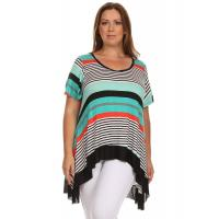 Buy cheap Desere Plus-Size Women's Scoop Neck Tunic - Mint Stripes from wholesalers
