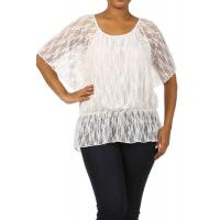 Buy cheap Blouson Lace Elastic Waist Top - WHITE from wholesalers