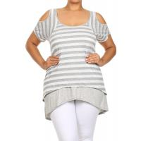 Buy cheap Cold Shoulder Hi-Low Top - GRAY WHITE from wholesalers