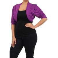 Buy cheap JAX Ruched Sleeve Bolero Shrug - PURPLE from wholesalers