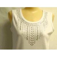 Buy cheap Christine Alexander white tank shirt baguette & silver stud size S, M, & 3x from wholesalers
