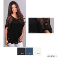 Buy cheap Simply Noelle shirt open weave button detail Size S to XXL black, white or navy from wholesalers