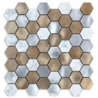 Buy cheap Luxury Style Metal Brown Marble Mosaic Mixed Aluminum Tiles for Interior Wall from wholesalers
