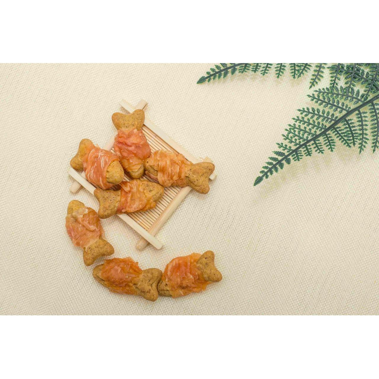 Chicken Wrapped Fish Shape Biscuit