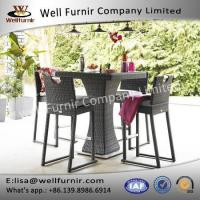 Buy cheap Well Furnir Brown Color 4 Seat Square Bar Set With Ice Bucket Rattan Garden Set from wholesalers