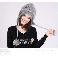 Buy cheap knitted rabbit fur hat from wholesalers