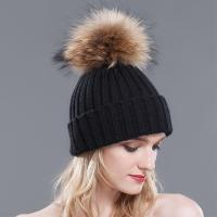 Buy cheap fur pom pom hat from wholesalers