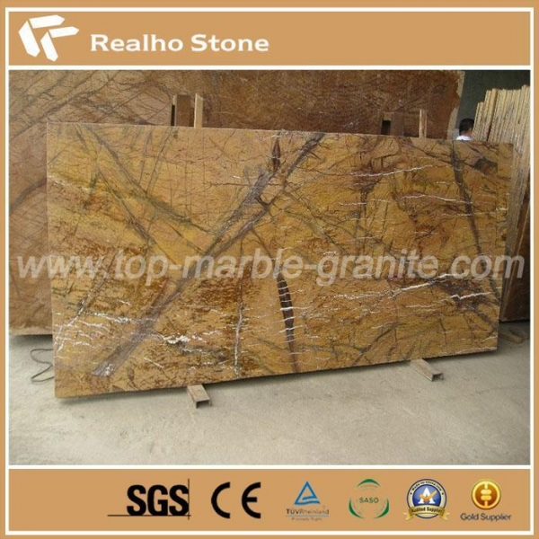 Quality India Rainforest Brown Marble Slab for TV Background Decoration for sale