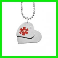 Buy cheap Polish Stainless Steel Double Heart Shaped Medical Alert ID Pendant or Charm from wholesalers