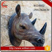 Buy cheap Animal Statues Artificial 3D polyresin wall art rhinoceros decoration from wholesalers