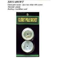 Buy cheap Closet pole socket- 2pcs/set, white with screws from wholesalers