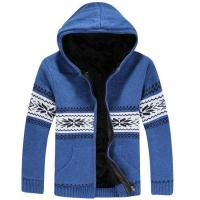 Buy cheap Fashion blue knitted wool warm winter hooded jackets mens from wholesalers