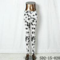 Buy cheap Knit Black And White Leggings Ornament Style Charming Fashion Women'S White Coconut Tree leggings from wholesalers