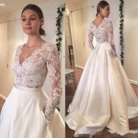 Buy cheap 2017 new Vintage Lace Wedding Dresses Long Sleeve Lace Applique A Line Wedding Dresses For Bride from wholesalers