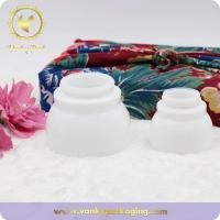 Buy cheap Special Shape Round Cream White Glass Jar With Screw Cap Packaging from wholesalers